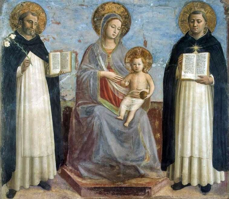 Madonna and Child, St. Dominic och St. Thomas Aquinas   Fra Beato Angelico