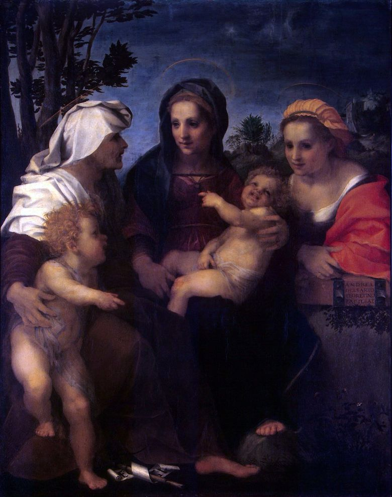 Madonna and Child, Saints Catherine, Elizabeth och John the Baptist   Andrea del Sarto