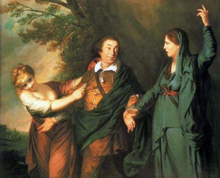 Garrick mellan Muses of Tragedy and Comedy   Joshua Reynolds