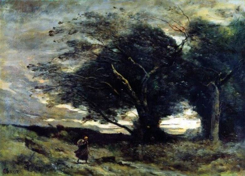 Gust of Wind   Camille Corot
