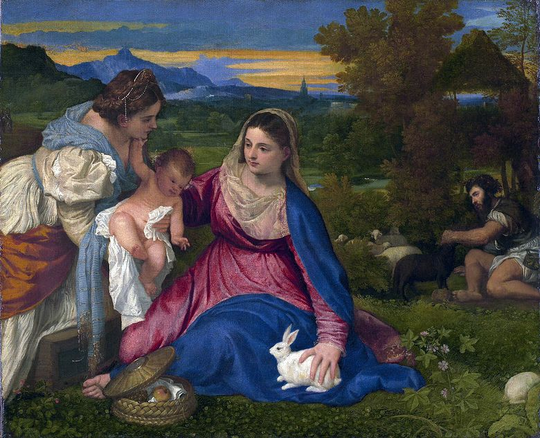 Madonna and Child with St. Catherine and the Rabbit   Titian Vecellio